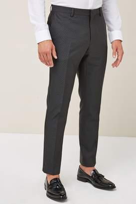 Next Mens Charcoal Jacquard Skinny Fit Tuxedo Suit: Trousers