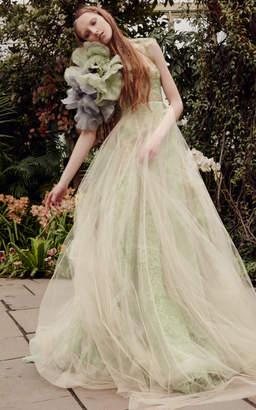Vera Wang Sage Macrame Lace A-Line Gown