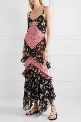 Michael Kors Ruffled Floral-print Silk-chiffon Maxi Dress - Black
