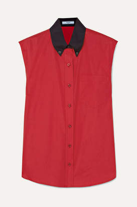 Prada Two-tone Cotton-poplin Shirt - Red