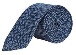 Burton Mens Navy Geometric Design Lining Tie
