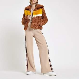 River Island Light brown shearling fur colour block jacket