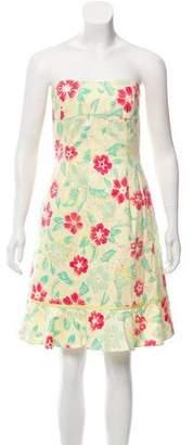 Tibi Strapless Floral Dress