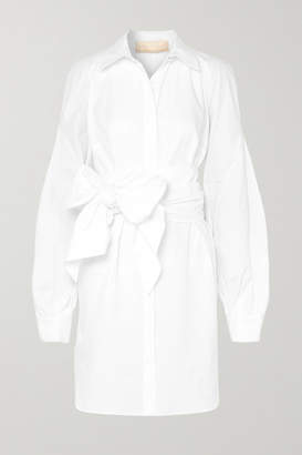 Antonio Berardi Tie-front Cotton-poplin Dress - White