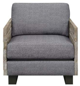 Emerald Home Interlude Charcoal Gray and Sandstone Gray Accent Chair with Loose Cushions, Distressed Wood Sides, And Metal Legs