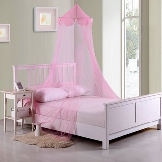 Generic Pom Pom Kids' Collapsible Hoop Sheer Bed Canopy