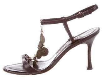 Manolo Blahnik Coin T-Strap Sandals