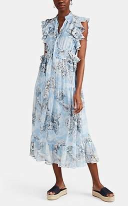 Robert Rodriguez Women's Clara Floral Cotton-Silk Maxi Dress - Blue