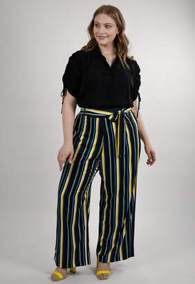 Marée Pour Toi Maree Pour Toi The Spring Striped Pant in Black/Navy Blue/Yellow Size 12 Polyester