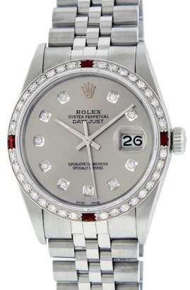 Rolex Datejust 16014 Stainless Steel and White Gold wDiamond & Ruby 36mm Mens Watch