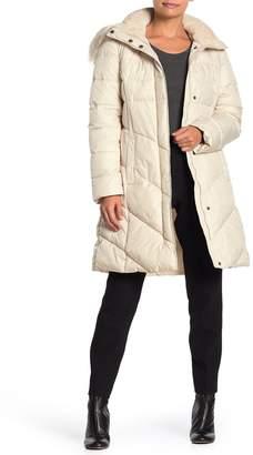 Larry Levine Faux Fur Trim Hooded Coat