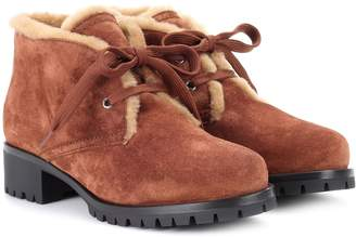 Prada Fur-trimmed suede ankle boots
