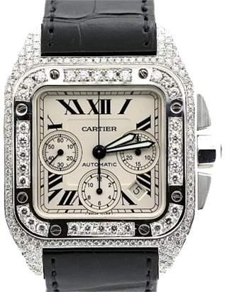 Cartier Santos Stainless Steel & Diamond Mens Watch