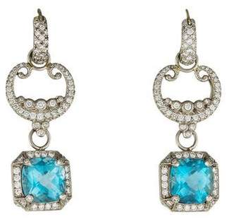 Erica Courtney Platinum Aquamarine & Diamond Drop Earrings