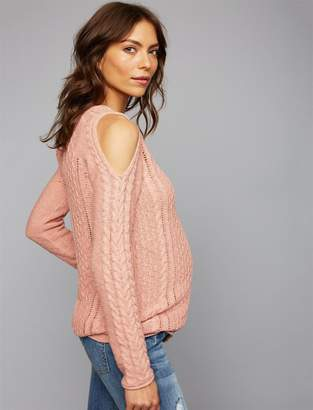 A Pea in the Pod Cold Shoulder Maternity Sweater