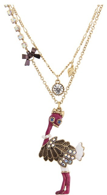 Betsey Johnson A Day At The Zoo Ostrich 2 Row Necklace (Fuchsia) - Jewelry