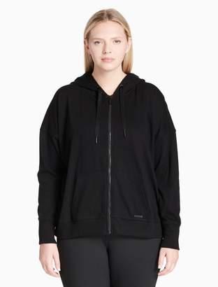 Calvin Klein plus size drawstring mesh zip hoodie
