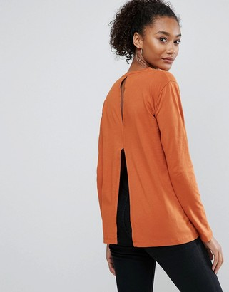 ASOS T-Shirt with Split Back and Long Sleeve $22 thestylecure.com