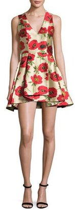 Alice + Olivia Tanner Asymmetric Floral Cocktail Dress, Multicolor $395 thestylecure.com