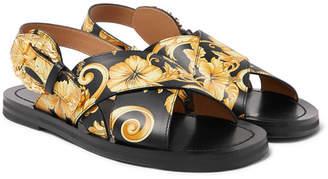 Versace Printed Leather Sandals - Men - Multi