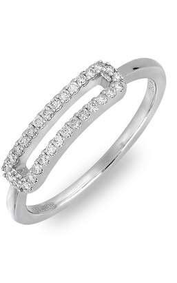 Bony Levy 18K White Gold Pave Diamond Cutout Bar Ring - 0.16 ctw