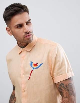 Asos Design Regular Textured Shirt With Embroidery In Pale Orange