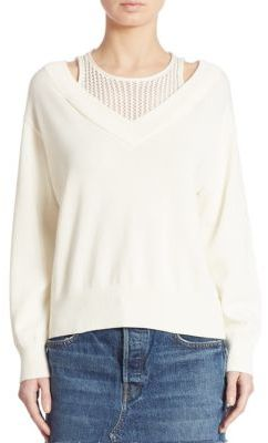 T by Alexander Wang Deep V-Neck Sweater $325 thestylecure.com