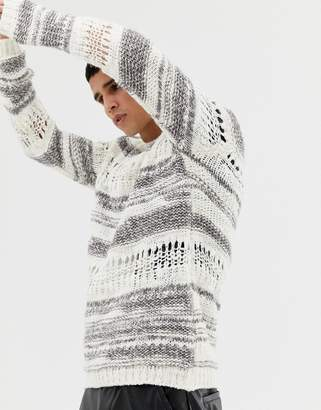 Asos Design Relaxed Fit Jumper With Mixed Yarn In White