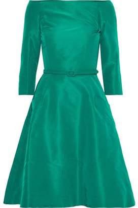 Oscar de la Renta Off-the-shoulder Belted Silk-faille Dress