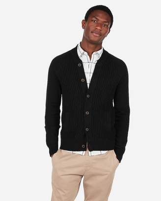 Express Cable Knit Mock Neck Baseball Cardigan