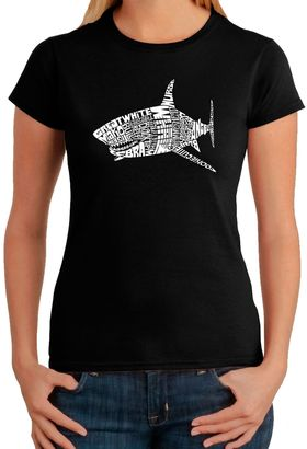 Women's Word Art Shark T-Shirt in Black $19.99 thestylecure.com