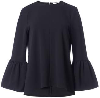 Tibi Structured Crepe Ruffle Sleeve Top