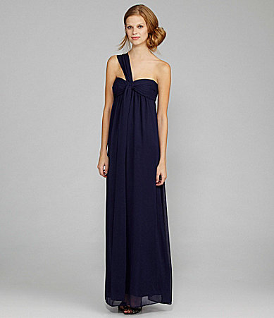 Max & Cleo Chiffon One-Shoulder Gown