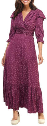 Gal Meets Glam Shadow Posey Jacquard Ruffle-Sleeve Maxi Dress