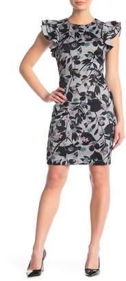 Tommy Hilfiger Flutter Sleeve Heather Scuba Sheath Dress