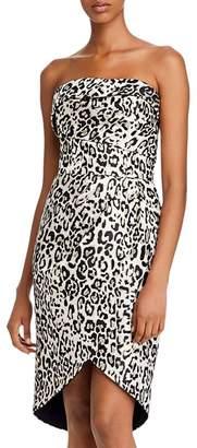 Black Halo Tamara Leopard Tulip-Hem Dress
