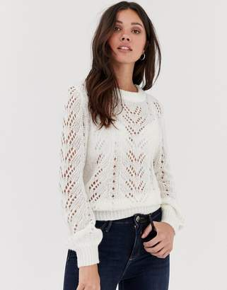 Brave Soul lightweight pointelle jumper with balloon sleeve in oatmeal