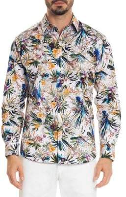 Robert Graham Floral-Print Cotton Casual Button-Down Shirt