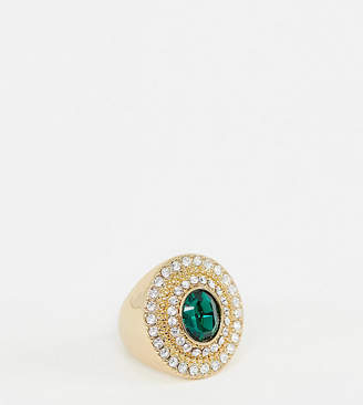 Reclaimed Vintage inspired statement gold plated cocktail ring with Swarovski stones