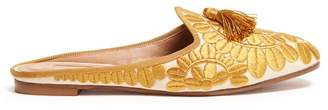 Aquazzura Fez Tasselled Embroidered Mules - Womens - Gold