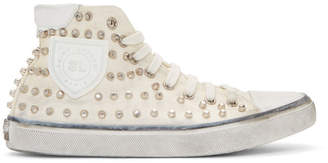 Saint Laurent White Studded Bedford High-Top Sneakers