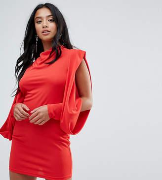 Asos Cold Shoulder Drape Sleeve Bodycon Dress