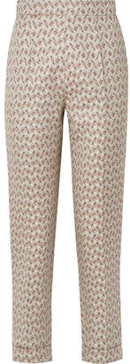 Brock Collection Peregrine Embroidered Cotton And Silk-blend Brocade Tapered Pants - Light gray