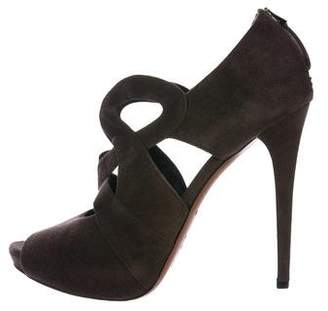 Alaia Suede Cutouts Ankle Booties