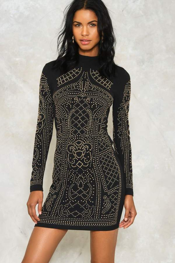 nastygal Tell Me About It Studded Dress