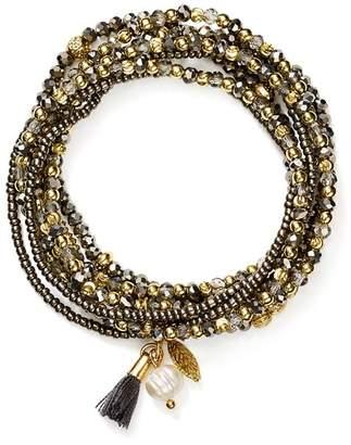 Aqua Beaded Stretch Bracelets, Set of 7 - 100% Exclusive