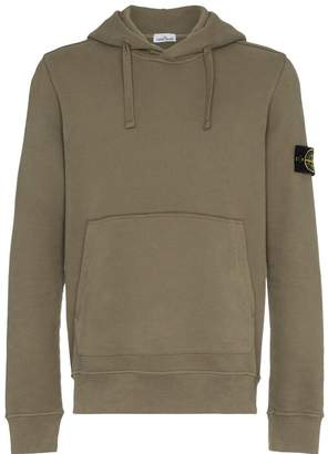 Stone Island Green Garment Dyed Hooded Sweatshirt