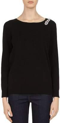 Gerard Darel Chrissy Embellished Wool & Cashmere V-Back Sweater