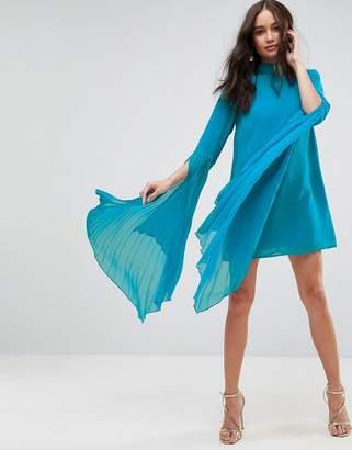 Asos Dramatic Pleated Sleeve Mini Shift Dress