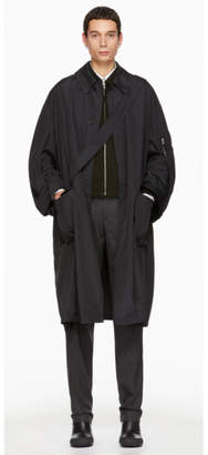 Random Identities Black Satin Overcoat